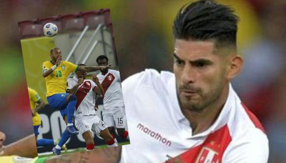 El defensor de la selección peruana sufrió con el Perú vs. Brasil y renegó con el arbitraje del colombiano Wilmar Roldán.