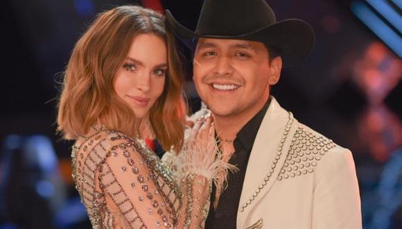 Belinda y Christian Nodal hicieron una fiesta para celebrar un mes más de relación.   (Foto: Captura TV Azteca)