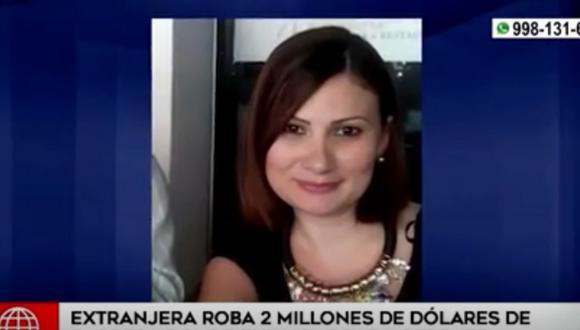 Iliana Carolina Ojeda Trejo robó de la empresa donde era gerenta general  2 millones 2 mil dólares. Foto: captura América TV