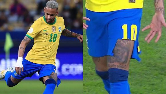 Luego de un duro choque con un zaguero argentino Neymar terminó con el short roto