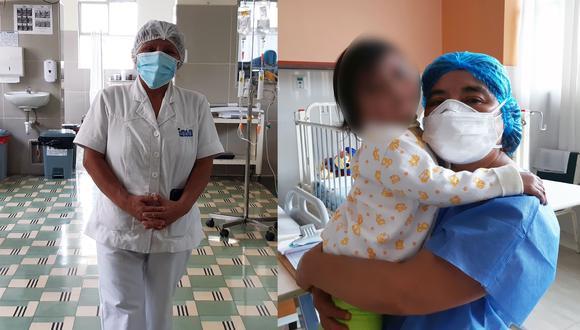 Aidé Alonso y Rosario Huertas no solo cuidan a los niños, también los consuelan cuando extrañan a sus padres. (Fotos: INSN)