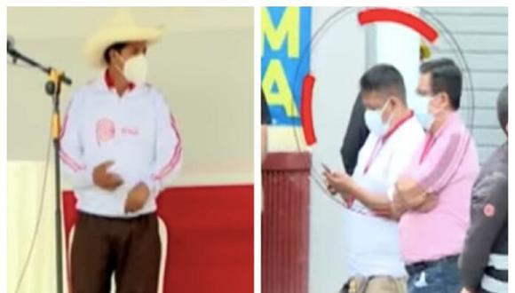 """Las imágenes de Panorama muestran como Richard Rojas García le dice a Pedro Castillo """"5 minutos más o nos vamos"""" luego de recibir un mensaje en su celular."""