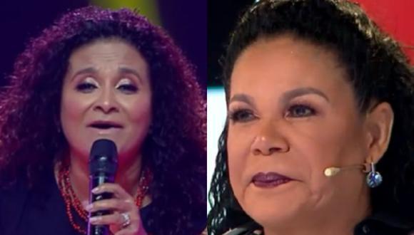 """Eva Ayllón es sorprendida por su hermana en """"La Voz Senior"""". (Foto: Captura Latina)."""