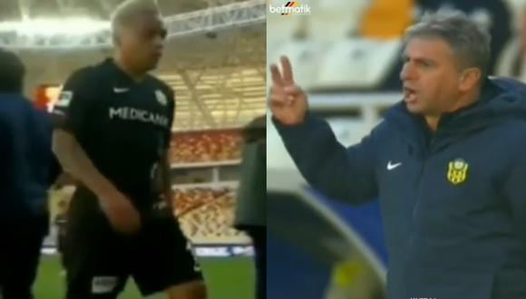 Christian Cueva fue cambiado a los 37 minutos del primer tiempo en el último partido del Yeni Malatyaspor. Las imágenes han sido publicadas por un grupo de hinchas del club turco en Instgram