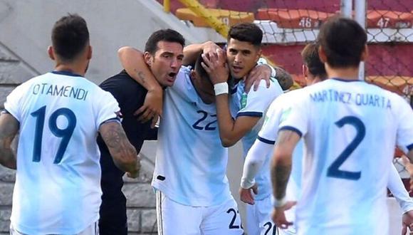 Lionel Scaloni se mostró eufórico con este importante gol en la altura de La Paz