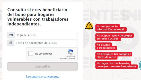 El Bono Independiente otorga un total de 760 soles a los trabajadores vulnerables en tiempos de pandemia. | Foto: Captura