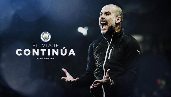 Pep Guardiola renovó contrato con Manchester City. (Foto: @ManCityES)
