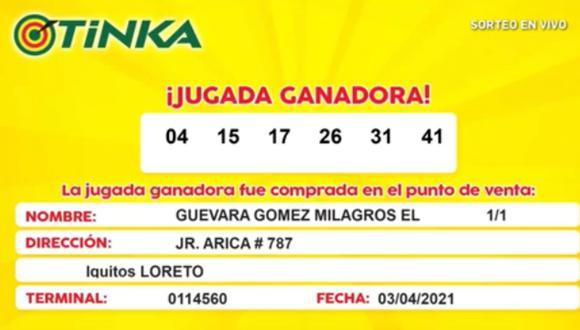 La lotería peruana sorteó 8′705,282 millones de soles y el premio mayor se lo llevó una persona de Iquitos.
