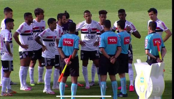 El partido entre Goiás y Sao Paulo quedó suspendido por casos de coronavirus. (Foto: Globo TV)