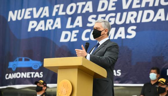 José Elice presentó la nueva flota para patrullaje integrado entre la policía y serenazgo en Comas. (Foto / Mininter)