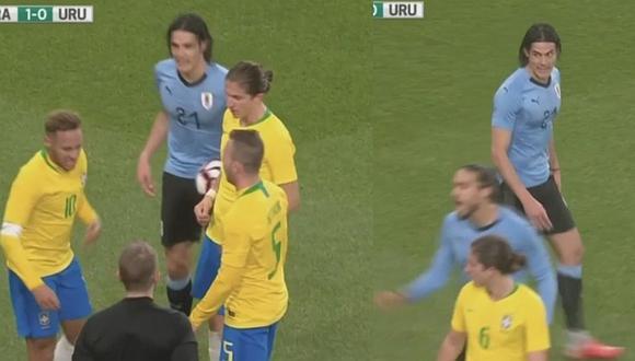 La patada de Cavani que desató la ira de Neymar en el Brasil vs. Uruguay [VIDEO]