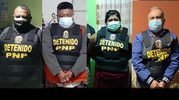 Estos son cuatro de los veinte detenidos durante el megaoperativo. (Foto: Ministerio Público)