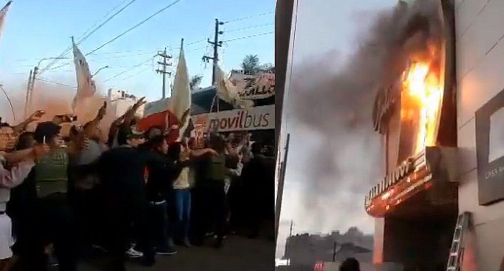 Universitario | Concentración de la U sufrió incendio tras banderazo de hinchas en Trujillo | VIDEO