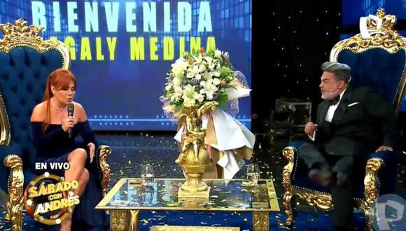 Conductora sorprendió al llegar al aniversario del programa de Andrés Hurtado (Foto: captura Panamericana TV)