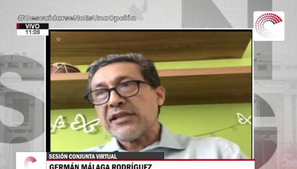 Germán Málaga respondió ante las comisiones de Fiscalización y COVID-19 del Congreso. (Congreso de la República)