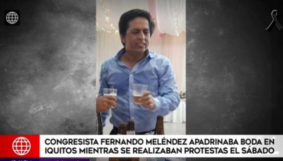 Según informa América Televisión, el congresista Fernando Meléndez apadrinó un matrimonio el sábado pasado mientras los jóvenes manifestaban en las calles contra la crisis política generada por la toma de mando de Manuel Merino
