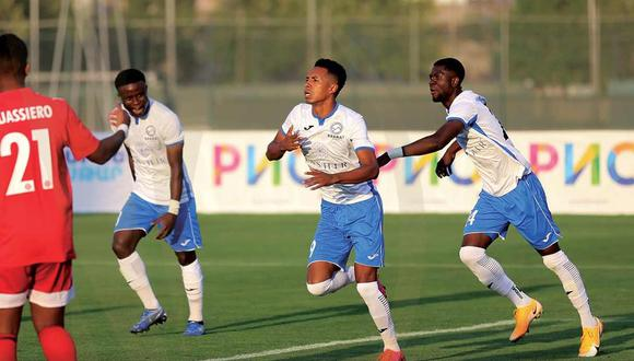 Jeisson Martínez celebra la conquista para de Ararat-Armenia en la Europa League. (Foto: Ararat-Armenia)