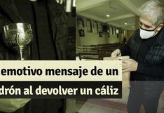 Callao: ladrón robó cáliz de parroquia y lo devuelve con carta donde muestra su arrepentimiento