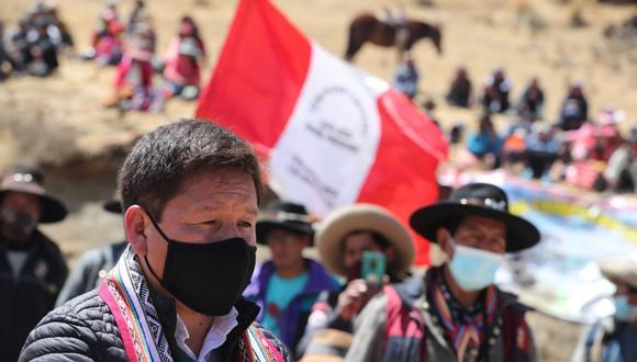 El presidente del Consejo de Ministros, Guido Bellido, se reunió con las comunidades campesinas que residen cerca del corredor vial sur de la provincia de Chumbivilcas, en el Cusco. (Foto: PCM)
