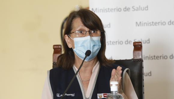 La titular del Ministerio de Salud (Minsa), Pilar Mazzetti, sostuvo que por ahora hay una saturación del servicio de salud y cuenta con poco personal médico para la atención de pacientes COVID-19. (Foto: Cesar Bueno/GEC)