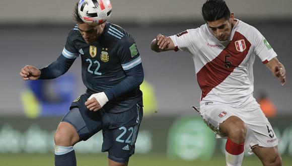 Perú enfrentó a Argentina por la fecha 12 de las Eliminatorias Qatar 2022. Foto: Juan Mabromata/AFP.
