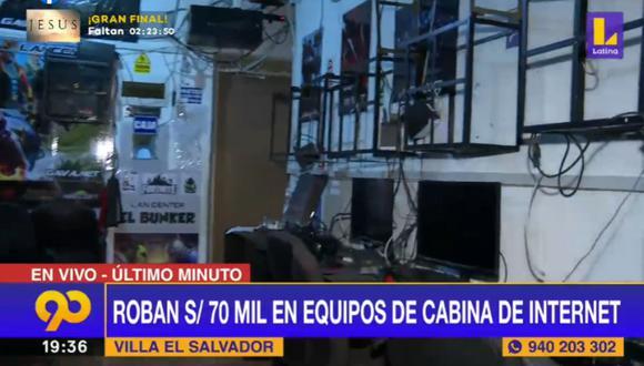 Tres sujetos se llevaron los equipos electrónicos en un taxi que estacionado en el exterior del local. (Foto: Captura Latina)