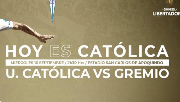 Universidad Católica vs. Gremio EN VIVO ONLINE   Sigue el partido por la fecha 3 del grupo E de la Copa Libertadores 2020 desde el estadio San Carlos de Apoquindo de Santiago de Chile.