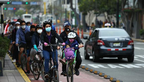 El uso de las bicicletas y de ciclovías ha aumentado en el contexto de la pandemia del coronavirus (COVID-19) . (Fotos: Fernando Sangama/ @photo.gec)