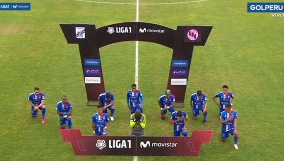 El gesto de los jugadores de Carlos A. Mannucci. (Foto: Gol Perú)