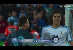 Argentina vs. Uruguay: Lionel Messi y Cavani protagonizaron fuerte pelea al final del primer tiempo de amistoso internacional | VIDEO