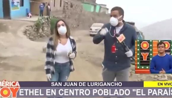 "Ethel Pozo deja set de ""América Hoy"" para llevar ayuda a San Juan de Lurigancho  (Foto: captura)"