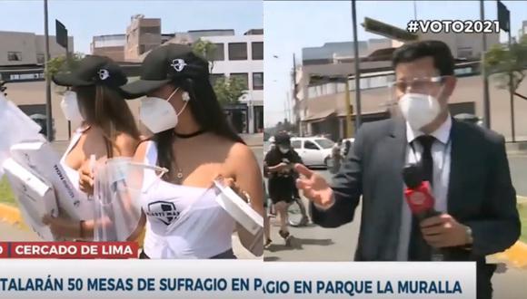 Reportero de América TV choteó en vivo a dos jovencitas que regalaban faciales (Foto: Captura).