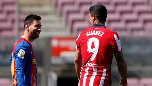 Lionel Messi y Luis Suárez se reunieron en el Barcelona vs. Atlético de Madrid. (Foto: Agencias)