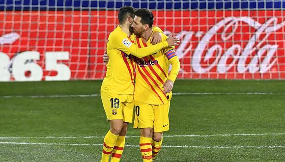 Frenkie de Jong marcó el único gol para el Barcelona en el duelo de visita ante el Huesca, que sigue último con 12 unidades en esta Liga 2020-21.    Foto: AFP