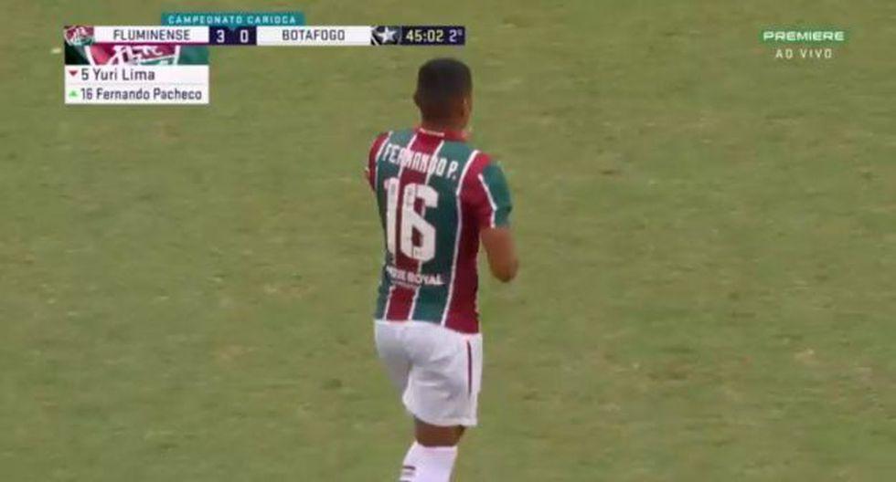 Fernando Pacheco jugó los minutos de descuento del segundo tiempo del duelo ante Botafogo. (Captura: Premiere)