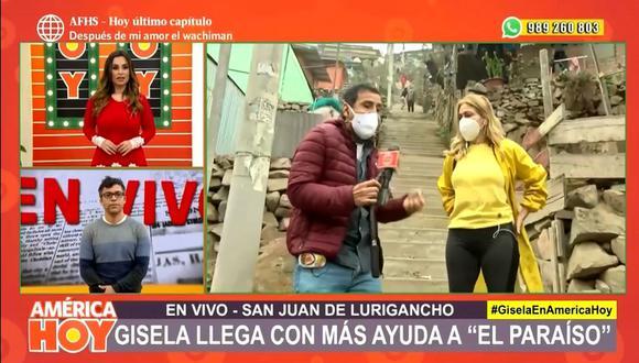 """Gisela Valcárcel llegó hasta """"El Paraíso"""" llevando ayuda para los vecinos. (Foto: Captura de video)"""