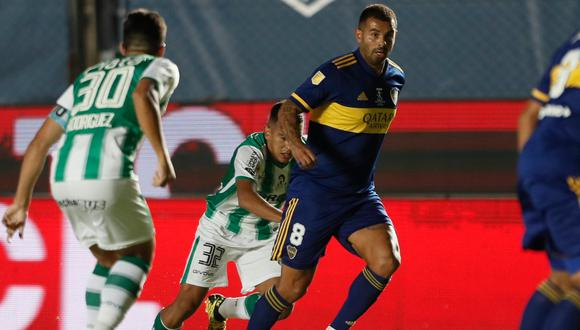 A Boca Juniors se lo empató Lollo en el último minuto del tiempo regular y en penales se llevaron la victoria. Buffarini marcó el gol final y Rodríguez falló para Banfield.    Foto: Boca