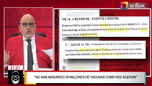 Beto Ortiz mostró lo que sería parte del contrato entre el Perú y Sinopharm.