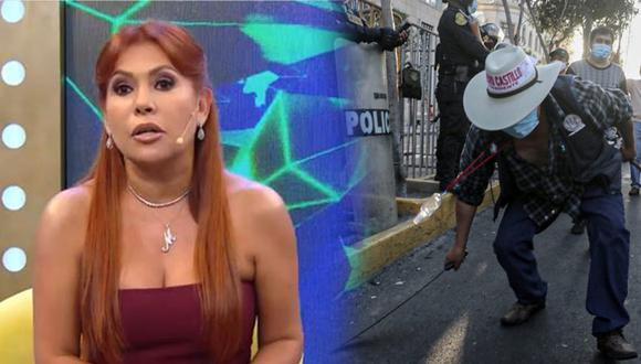 """La conductora de 'Magaly TV La Firme' aseguró que los ronderos llegaron a Lima """"en buses camas"""". (Foto: Caretas)"""