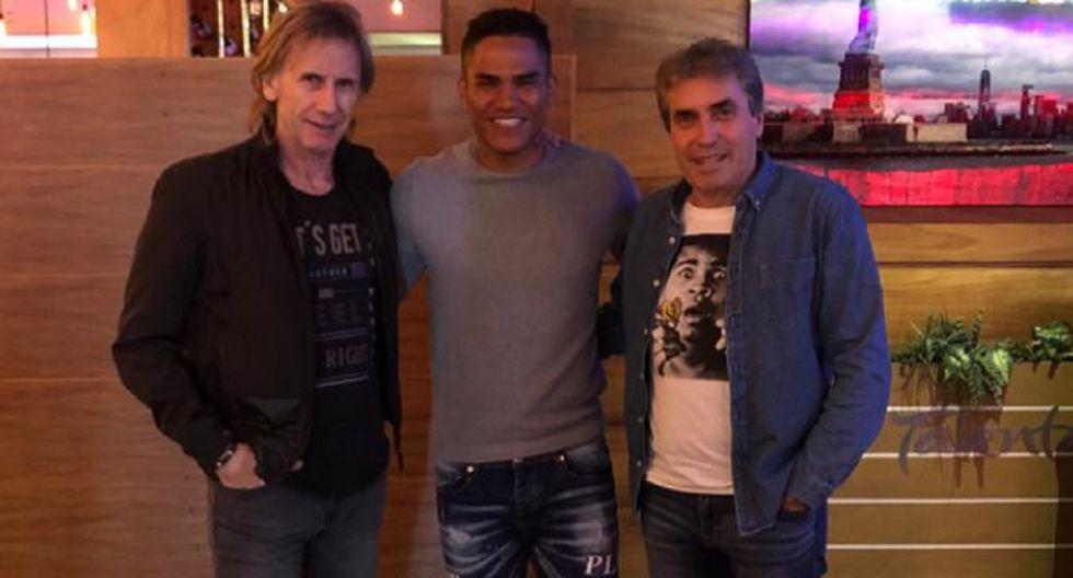 Ricardo Gareca y Néstor Bonillo se reunieron con Anderson Santamaría en Guadalajara | Foto: Twitter selección peruana