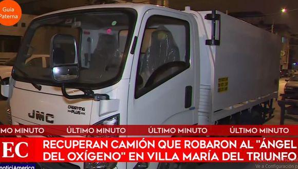 El camión servía para abastecer de oxígeno medicinal a las personas afectadas por el COVID-19. (América Noticias)