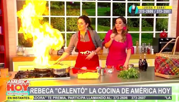 """Rebeca Escribens recordó que hace un año casi incendia el set de """"América Hoy"""". (Foto: Captura de video)"""