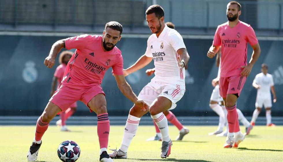 Real Madrid vistió los nuevos uniformes en el entrenamiento del sábado. (Foto: Real Madrid)