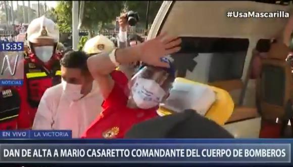 El brigadier Mayor CBP Mario Casaretto fue dado de alta tras superar el nuevo coronavirus. Foto: captura Canal N