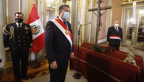 Manuel Merino se refirió a las protestas y movilizaciones en todo el país tras su juramentación como presidente. (Foto: Presidencia)