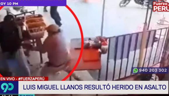 Luis Miguel Llanos hace uso de su arma de fuego cuando unos sujetos lo abordaron. (Latina)