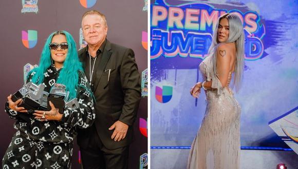 """Karol G y Bad Bunny fueron las estrellas de la noche en """"Premios Juventud"""", pese a que el segundo artista no pudo asistir. (Foto: Instagram @karol g / @badbunny.pr)."""