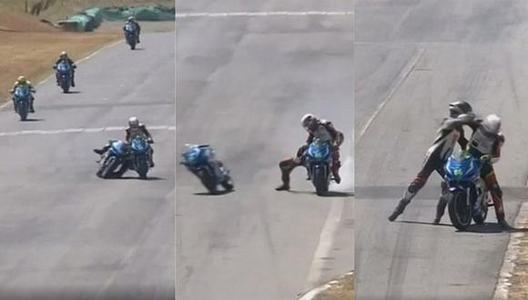 Accidente en motos termina en brutal pelea de pilotos | VIDEO