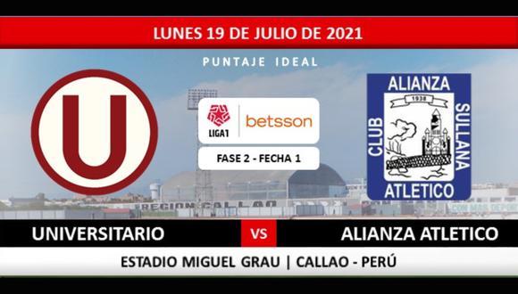 Universitario vs. Alianza Atlético se enfrentan por la jornada 1 de la fase 2 de Liga 1 en el estadio Miguel Grau del Callao. Sigue el MINUTO A MINUTO del partido.