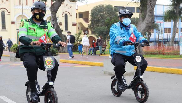 Policías y serenos patrullaran en bicicletas eléctricas las calles del distrito de Magdalena del Mar. (Foto:Municipalidad de Magdalena del Mar)